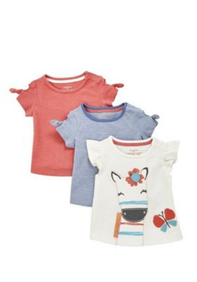 F&F 3 Pack of Frill Sleeve T-Shirts Multi 0-3 months