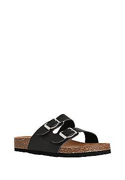 F&F Buckle Strap Moulded Footbed Sandals - Black