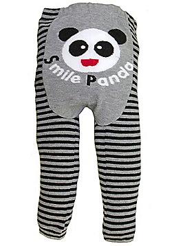 Dotty Fish Knitted Baby Leggings - Smiling Panda - Grey & Black