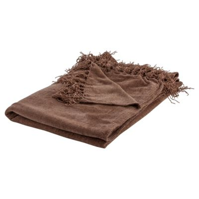 Tesco Chenille Throw, Mocha
