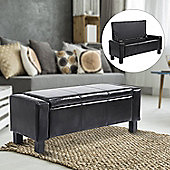 Homcom Ottoman Storage Chest Faux Leather Bench Bedding Blanket Box (Black)