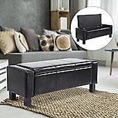 Homcom Ottoman Storage Chest Faux Leather Bench Bedding Blanket Box (Black)