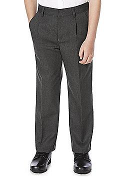 F&F School Boys Pleat Front Trousers - Light grey
