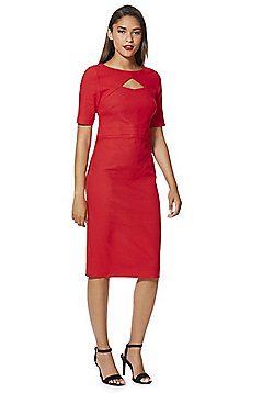 F&F Peekaboo Cut-Out Bengaline Pencil Dress - Red