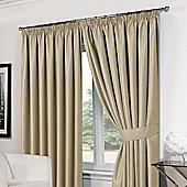 """Dreamscene Pair Basket Weave Pencil Pleat Curtains, Beige - 66"""" x 54"""" (168x137cm)"""