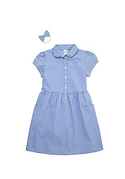 F&F School Ruffle Collar Gingham Dress with Bow Hair Band - Blue & White
