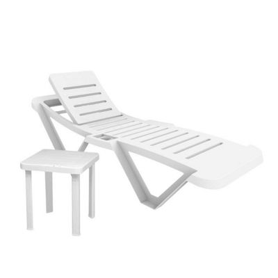 Resol Master White Sun Lounger & Side Table - x1 Lounger and 1 Table