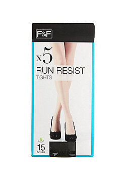 F&F 5 Pack of 15 Denier Run Resist Tights with Lycra® - Barely black
