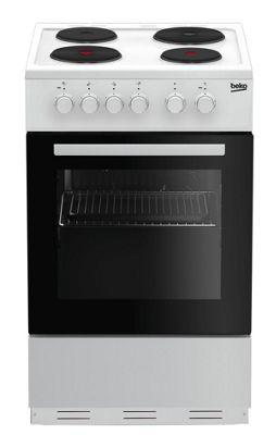 Beko Single Oven Electric Cooker, KS530W - White