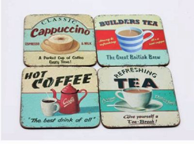Martin Wiscombe Hot Drinks Design Coasters, Set of 4