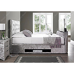 Happy Beds Barnard Crushed Velvet Fabric Tv Ottoman Storage Bed