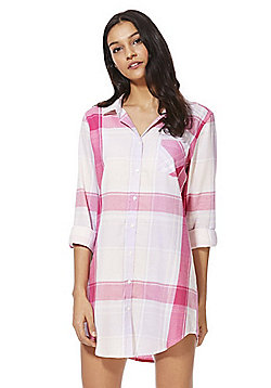 F&F Checked Woven Nightshirt - Multi pink