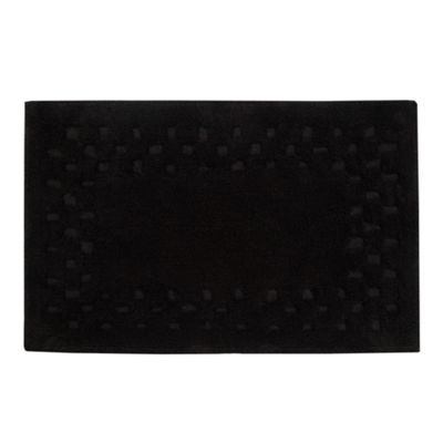 Homescapes Cotton Check Border Black Bathmat