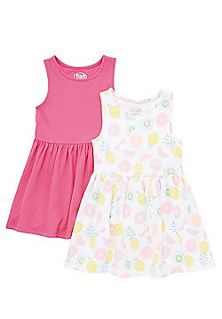 F&F 2 Pack of Fruit Print and Plain Skater Dresses - Multi
