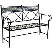 Charles Bentley Garden 2-3 Seat Blue Mosaic Bench Outdoor Patio