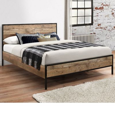 Happy Beds Urban Wood and Metal Low Foot End Bed with Orthopaedic Mattress - Black and Brown - 4ft6 Double