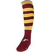 Precision Training Hooped Pro Football Socks - Cherry