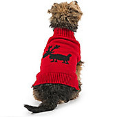 Ancol Red Reindeer Dog Jumper - Extra Extra Small