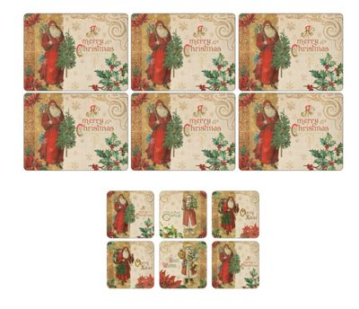 Pimpernel Victorian Christmas Placemats & Coasters, Set 6