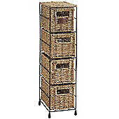 VonHaus 4 Tier Seagrass Basket Storage Tower Unit with Metal Frame