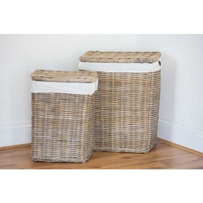 Natural Wicker Laundry Basket - Pair