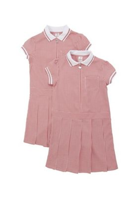 F&F School 2 Pack of Plus Fit Permanent Pleat Gingham Dresses Red/White 3-4 years