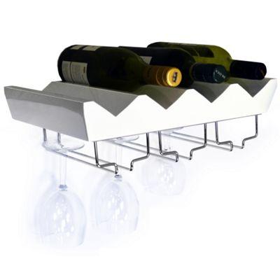 Monterey - 4 Bottle Wall Mounted Floating Wine Storage Shelf - White