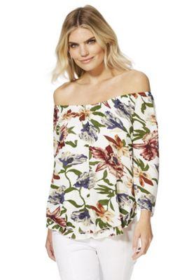 Solo Tropical Print Bardot top Multi 10