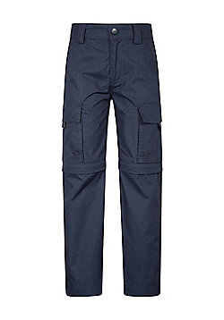 Mountain Warehouse Kids Zip-off Trousers Cotton/Polyester Fabric Blend - Blue