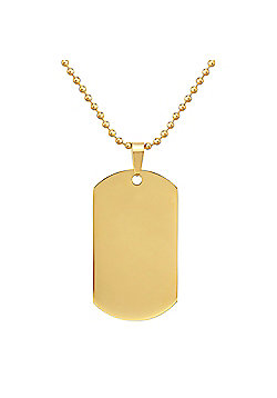 Urban Male Gold Stainless Steel Men's Dog Tag Pendant on 24in Chain