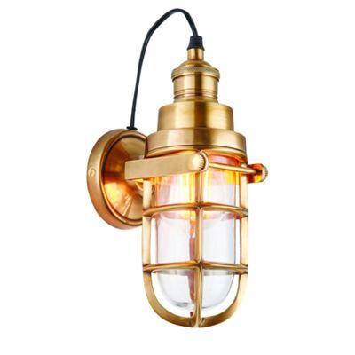 Solid Mellow Brass & Clear Glass 1lt Wall 15W