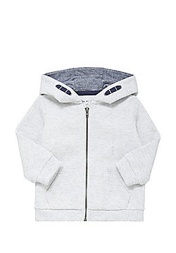 F&F Pique Zip-Through Hoodie - Grey marl