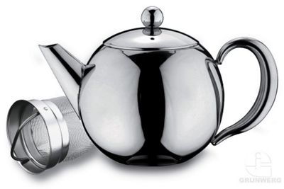 Grunwerg Cafe Ole Rondeo 18/10 Stainless Steel 1 Litre Teapot RT035X