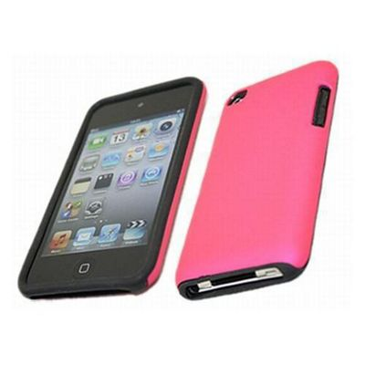 FuZion Pink Soft Silicone Case & Hard Red Back Cover - IPod Touch 4G