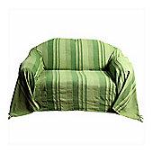 Homescapes Cotton Morocco Striped Green Throw, 225 x 255 cm