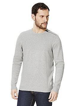 Jack & Jones Zip Shoulder Jumper - Grey
