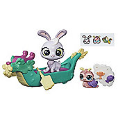 Littlest Pet Shop City Bunny & Snail Dragon Boat Figure Set
