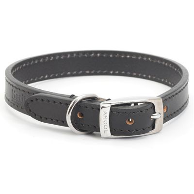 Ancol Heritage Flat Leather Dog Collar - Size 1 - Black