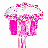 1st Birthday Pink Cupcake Pull Piñata