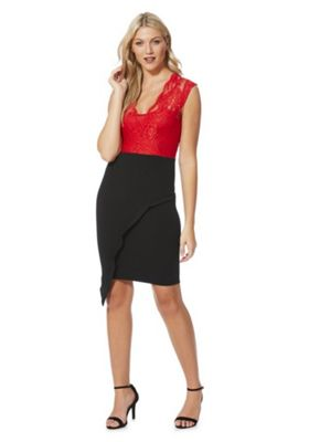 Feverfish Lace Bodice Asymmetric Pencil Dress 12 Red & Black