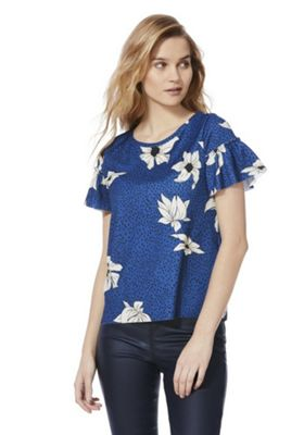 Only Spotty and Floral Frill Sleeve Top Blue Multi S