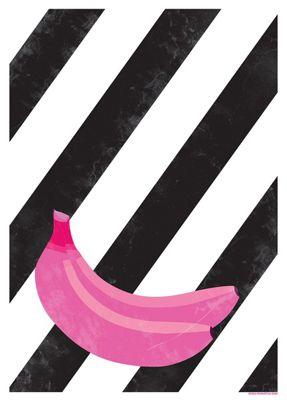 Banana Stripes Mini Poster 32x44cm,