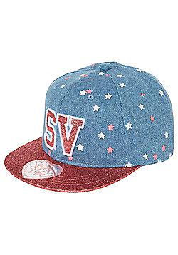 Street Vibe Glitter Flat Peak Snapback Cap - Blue