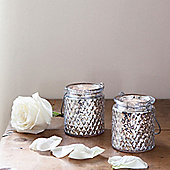 Pair of Silver Glass Battery LED Tea Light Jars
