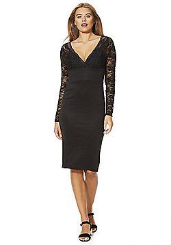 AX Paris Lace Top Midi Dress - Black