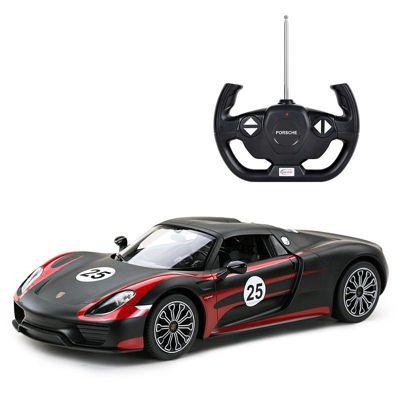 Licensed 1:14 Porsche 918 Spyder Weissach Remote Control Car Black- RideonToys4u