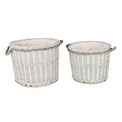 Homescapes Set of 2 Grey Willow Wicker Round Storage Log Baskets with White Lining and Handles
