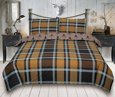 Check Stag 'Brown' Bedding Reverisble Quilt Double Duvet Cover Set
