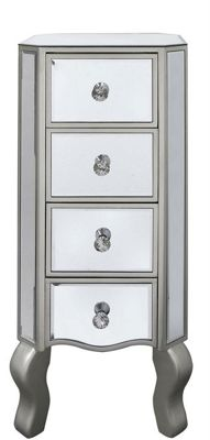 4 Drawer Tall Mirror Cabinet Champagne Trim
