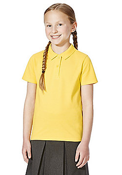 F&F School 2 Pack of Girls Pique Polo Shirts with As New Technology - Yellow gold